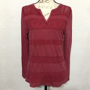 LUCKY BRAND LACE STRIPE THERMAL LONG SLEEVE TOP L